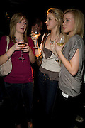 IONA WARK, MOLLIE CAMPSIE AND HANNAH JOHNSTON, INTO THE HOODS - a hip hop dance musical -opening  at the Novello Theatre on The Aldwych. After- party at TAMARAI at 167 Drury Lane, London. 27 March 2008.   *** Local Caption *** -DO NOT ARCHIVE-© Copyright Photograph by Dafydd Jones. 248 Clapham Rd. London SW9 0PZ. Tel 0207 820 0771. www.dafjones.com.
