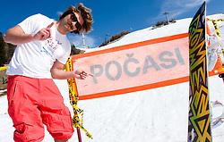 Filip Flisar, winner of crystal globe 2012 in ski cross posing after Luza Petrol 007 on ski resort RTC Krvavec, 31.3.2012, Cerklje na Gorenjskem, ski resort RTC Krvavec, Slovenia