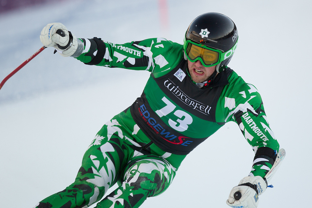 Mathieu Bertrand of Dartmouth College, skis during the second run of the men's giant slalom at the Colby College Carnival at Sugarloaf Mountain on January 17, 2014 in Carabassett Valley, ME. (Dustin Satloff/EISA)