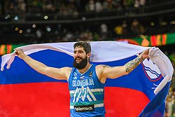 Ziga Dimec of Slovenia celebrates after winning during the 2020 FIBA Men's Olympic Qualifying Tournament final game between Lithuania and Slovenia on July 4, 2021 in Zalgiris Arena, Kaunas, Lithuania. Photo by Fotodiena / Sportida