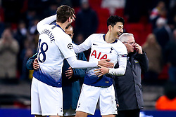 Son Heung-Min of Tottenham Hotspur celebrates with Fernando Llorente after victory over Borussia Dortmund - Mandatory by-line: Robbie Stephenson/JMP - 13/02/2019 - FOOTBALL - Wembley Stadium - London, England - Tottenham Hotspur v Borussia Dortmund - UEFA Champions League Round of 16, 1st Leg