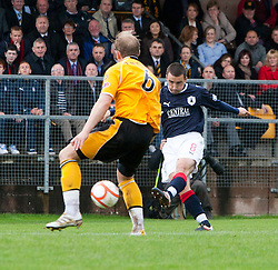 Falkirk's Mark Miller scoring their first goal..Annan Athletic 0 v 3 Falkirk. Semi Final of the Ramsdens Cup, 9/10/2011..Pic © Michael Schofield.