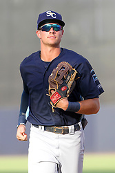 May 28, 2018 - Tampa, FL, U.S. - TAMPA, FL - MAY 23: Josh Lowe (28) of the Stone Crabs trots back to the dugout after the third out during the Florida State League game between the Charlotte Stone Crabs and the Tampa Tarpons on May 23, 2018, at Steinbrenner Field in Tampa, FL. (Photo by Cliff Welch/Icon Sportswire) (Credit Image: © Cliff Welch/Icon SMI via ZUMA Press)