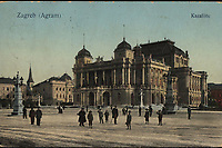 Zagreb : Kazalište = Agram. <br /> <br /> ImpresumS. l. : S. n., [1914].<br /> Materijalni opis1 razglednica : tisak ; 8,9 x 13,7 cm.<br /> Vrstavizualna građa • razglednice<br /> ZbirkaGrafička zbirka NSK • Zbirka razglednica<br /> ProjektPozdrav iz Zagreba • Pozdrav iz Hrvatske<br /> Formatimage/jpeg<br /> PredmetZagreb –– Trg Republike Hrvatske<br /> Hrvatsko narodno kazalište (Zagreb)<br /> SignaturaRZG-TMT-20<br /> Obuhvat(vremenski)20. stoljeće<br /> NapomenaRazglednica je putovala 1914. godine.<br /> PravaJavno dobro<br /> Identifikatori000953152<br /> NBN.HRNBN: urn:nbn:hr:238:935021 <br /> <br /> Izvor: Digitalne zbirke Nacionalne i sveučilišne knjižnice u Zagrebu