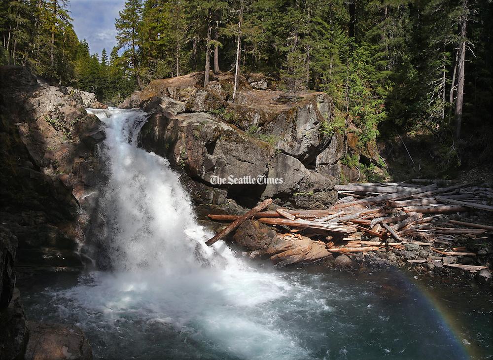Silver Falls on the Ohanapecosh River. The river originates near Ohanapecosh Glacier on the southeast side of Mount Rainier. (Steve Ringman / The Seattle Times)