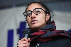Southall, UK. 27th April 2019. Cllr Jaskiran Chohan of Ealing Labour addresses members of the local community and supporters at a rally outside Southall Town Hall to honour the memories of Gurdip Singh Chaggar and Blair Peach on the 40th anniversary of their deaths. Gurdip Singh Chaggar, a young Asian boy, was the victim of a racially motivated attack whilst Blair Peach, a teacher, was killed by the Metropolitan Police's Special Patrol Group during a peaceful march against a National Front demonstration.