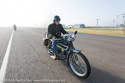Jeff Tiernan of New York riding his Mark Hill restored 4-cylinder 1913 Henderson class-2 bike during the Motorcycle Cannonball Race of the Century. Stage-9 Dodge City, KS to Pueblo, CO. USA. Monday September 19, 2016. Photography ©2016 Michael Lichter.