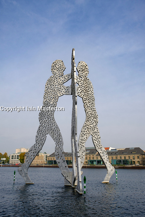 Metallic sculpture called Molecule Man by Jonathan Borofsky in Spree River Berlin