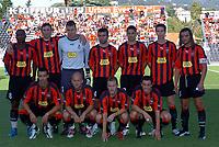 Fotball<br /> Frankrike 2004/05<br /> Intertoto cup<br /> Nice v Esbjerg<br /> 11. juli 2004<br /> Foto: Digitalsport<br /> NORWAY ONLY<br /> NICE TEAM ( BACK ROW LEFT TO RIGHT : NOE PAMAROT / JACQUES ABARDONADO / DAMIEN GREGORINI / ROMAIN PITAU / CEDRIC VARRAULT / ROLAND LINZ / JOSE COBOS . FRONT ROW : OLIVIER ECHOUAFNI / DANIEL MESLIN / YOANN BIGNE / SEBASTIEN ROUDET ) *** Local Caption *** 40001225