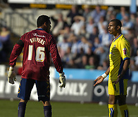 Photo: Matt Bright.<br /> Brighton and Hove Albion v Leeds United. Coca Cola League 1. 20/10/2007.<br /> Michel Kuipers and  Jeramine Beckford squre up to each other