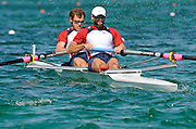 Munich, GERMANY, USA M2-, Bow, Jason READ and Bryan VOLPNHEIN move away from the start at the FISA World Cup at the Munich Olympic Rowing Course, 10.05.2008  [Mandatory Credit Peter Spurrier/ Intersport Images] Rowing Course, Olympic Regatta Rowing Course, Munich, GERMANY