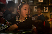 A girl in a kindergarten in one of the ger district of Ulaanbaatar, Mongolia.