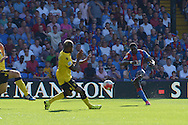 Bakary Sako of Crystal Palace scores his sides second goal of the match to make it 2-1. Barclays Premier league match, Crystal Palace v Aston Villa at Selhurst Park in London on Saturday 22nd August 2015.<br /> pic by John Patrick Fletcher, Andrew Orchard sports photography.