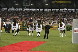 Team NED winners of the Preis der Teschinkasso CDIO<br /> Marijnissen Sander, Van Baalen Marlies, Van Grunsven Anky, Minderhout Hans Peter, chef d'equipe Sjef Jansen<br /> CHIO Aachen 2009<br /> Photo © Dirk Caremans