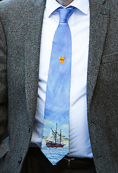 © Licensed to London News Pictures. 01/12/2017. Connah's Quay, UK. Tie worn by Labour party leader JEREMY CORBYN as he arrives for the funeral of Carl Sargeant, who died four days after stepping down from his post in the Welsh Government after unspecified allegations of sexual harassment were made against him. He had denied the allegations. Photo credit: Joel Goodman/LNP