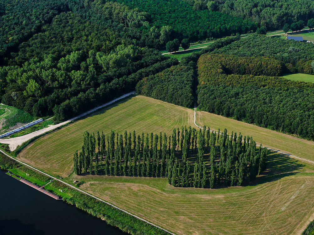 Nederland, Flevoland, Almere Haven, 26-08-2019; Stichtse kant. Kathedralenbos met daarin De Groene Kathedraal, landschapskunst van Marinus Boezem.  De vorm van de kathedraal is opgebouwd uit populieren.<br /> Kathedralenbos (Cathedrals forest) with The Green Cathedral, landscape art of Marinus Bosom. The artwork is a full scale replica of the cathedral of Reims, the cathedral made ?? of poplar trees. <br /> <br /> luchtfoto (toeslag op standard tarieven);<br /> aerial photo (additional fee required);<br /> copyright foto/photo Siebe Swart