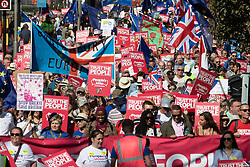 © Licensed to London News Pictures . 21/09/2019. Brighton, UK. Thousands attending a march organised by the People's Vote for a second EU referendum on Brexit pass through Brighton and along the Promenade during the first day of the 2019 Labour Party Conference from the Brighton Centre . Photo credit: Joel Goodman/LNP
