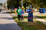 22 AUGUST 2020 - DES MOINES, IOWA: About 35 people picketed the main US Post Office in Des Moines Saturday protesting changes made to the Postal Service by the Trump Administration. Nationally, there has been concern that changes to the Postal Service will hurt citizens' ability to vote by mail in the 2020 presidential election.         PHOTO BY JACK KURTZ