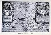 Map of Africa c. 1600 from the book ' A history of South Africa ' by Dorothea Fairbridge, Published in London by Oxford Univ. Press in 1911
