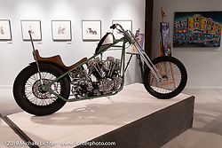 Nick Pensebene's 3-Peat is a custom 1967 Shovelhead Chopper, complete with a custom built Butteras Metal Werx frame and a Ron Finch front end. He named the chopper 3-Peat due to the fact this is his third year in the Motorcycles as Art Exhibit. On view in the What's the Skinny Exhibition (2019 iteration of the Motorcycles as Art annual series) at the Sturgis Buffalo Chip during the Sturgis Black Hills Motorcycle Rally. SD, USA. Thursday, August 8, 2019. Photography ©2019 Michael Lichter.