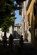 Street scene in the historic hill town of Spoleto, Umbria, Italy.