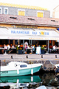 The old harbour. Brasserie du Soleil. Marseillan. Languedoc. France. Europe.