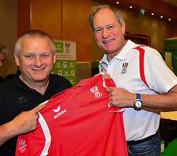 16.07.2016, Hotel Mariott, Wien, AUT, Olympia, Rio 2016, Einkleidung OeOC, im Bild Willi Grins ( Erima) und Peter Mennel (ÖOC) // during the outfitting of the Austrian National Olympic Committee for Rio 2016 at the Hotel Mariott in Wien, Austria on 2016/07/16. EXPA Pictures © 2016, PhotoCredit: EXPA/ Erich Spiess