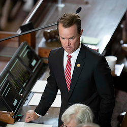 Speaker Dade Phelan tries to maintain order as the House attempts to get a quorum of members the day after most Democratic members left the state in protest of restrictive voting rights bills under consideration in the 87th Legislature. Less than the required 2/3 members showed up so the chamber cannot legally conduct business.