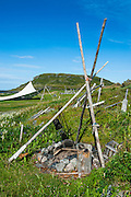 Reconstructed viking stove in the Norstead Viking Village and Port of Trade reconstruction of a Viking Age settlement, Newfoundland, Canada