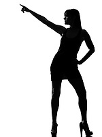 stylish sexy silhouette caucasian beautiful woman dancer dancing pose posture on studio isolated white background