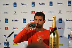 November 19, 2017 - London, England, United Kingdom - Grigor DImitrov of Bulgaria holds a press conference after he won the singles final of the Nitto ATP World Tour Finals at the O2 Arena, London on November 19, 2017. (Credit Image: © Alberto Pezzali/NurPhoto via ZUMA Press)