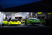 June 25 - 27, 2015: Lamborghini Super Trofeo Round 3-4, Watkins Glen NY. O'Gara Motorsport working late into the night.