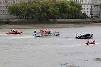 London Fire Brigade inflatable, London Fire Brigade fire rescue boat Fire Dart, RNLI Royal National Lifeboat Institution E class lifeboat Hurley Burley E-07, Metropolitan Police Marine Unit Rigid Inflatable Boat (RIB), Emergency Services Exercise, Lambeth Reach River Thames, London UK, 23 October 2017, Photo by Richard Goldschmidt
