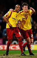 Photo: Daniel Hambury.<br /> Crystal Palace v Watford. Coca Cola Championship. 31/03/2006.<br /> Watford's Marlon King (L) celebrates his goal with Matthew Spring (R).