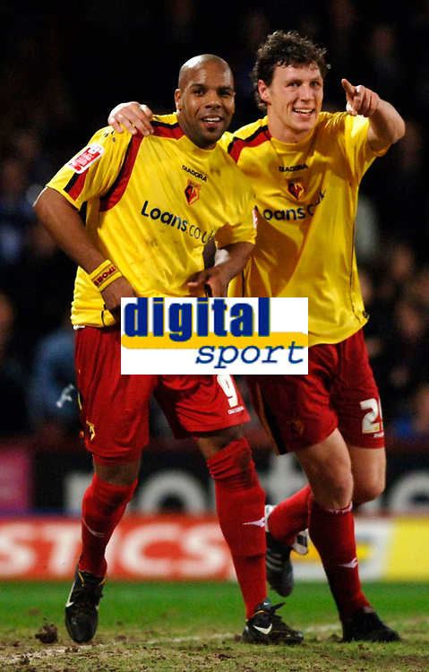 Photo: Daniel Hambury.<br /> Crystal Palace v Watford. Coca Cola Championship. 31/03/2006.<br /> Watford's Marlon King (L) celebrates his goal with Matthew Spring (R).