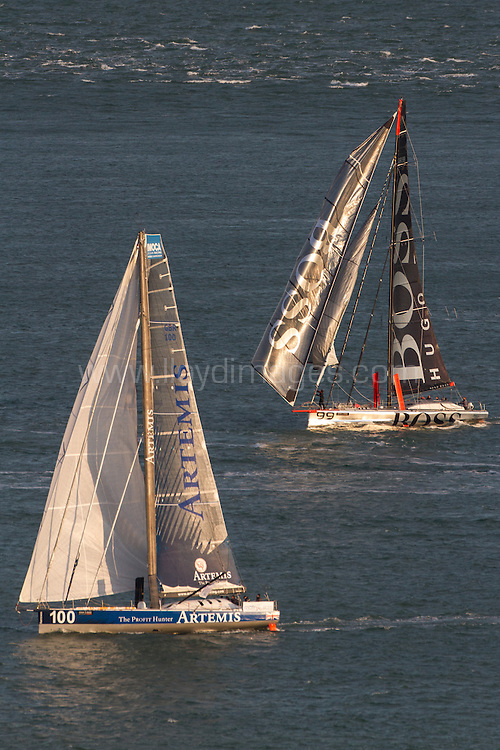 J.P.Morgan Asset Management Round the Island Race 2013.<br /> Picture showing the Artemis IMOCA Open 60 with the Hugo Boss IMOCA Open 60 during the round the island race.