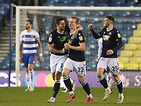Football - 2020 / 2021 Sky Bet Championship - Millwall vs Queens Park Rangers - The Den<br /> <br /> Jon Dadi Bodvarsson of Millwall (middle) celebrates scoring his side's equalising goal with Ryan Leonard and Troy Parrott to make the score 1-1.<br /> <br /> COLORSPORT/ASHLEY WESTERN