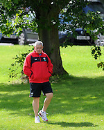 Wales head coach Warren Gatland. Wales rugby team training ahead of their next international, pre world cup game against England. the team training at the Vale, near Cardiff  on Tuesday 9th August 2011. Pic By Andrew Orchard, Andrew Orchard sports photography,