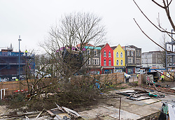 © Licensed to London News Pictures; 01/03/2021; Bristol, UK. The last remaining Maple tree complete with a treehouse, out of the original five that Save The M32 Maples campaigners have been fighting to save, is cut down. Contractors working for the owners began cutting the base of the tree before dawn when a woman called Kate got up the tree but no one was injured. Council contractors were then called in to complete the work and police blocked off the road. The campaign wants the importance of mature trees reflected in council policy and that developers integrate their projects whilst preserving existing trees to enhance the environment and help remove pollution in what is a traffic congested area. Photo credit: Simon Chapman/LNP.