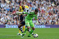 West Brom's Nicolas Anelka puts pressure on Sunderland keeper Keiren Westwood. . Barclays Premier league match, West Bromwich Albion v Sunderland at the Hawthorns in West Bromwich, England on Sat 21st Sept 2013. pic by Andrew Orchard, Andrew Orchard sports photography,