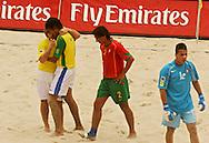 Football - FIFA Beach Soccer World Cup 2006 - Semi Final - BRA X POR - Rio de Janeiro - Brazil 11/11/2006<br />Bruno (BRA) celebrates his goal with his team-mate Betinho during the match Event Title Board Mandatory Credit: FIFA / Ricardo Moraes