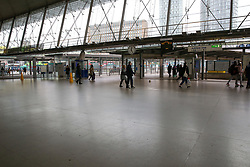 © Licensed to London News Pictures. 15/03/2020. London, UK. A nearly empty concourse at Stratford station amid an increased number of coronavirus (COVID-19) cases in the UK. 21coronavirus victims have died and 820 cases have tested positive of the virus in the UK of which 167 in London. Photo credit: Dinendra Haria/LNP