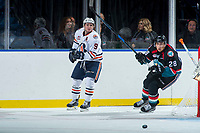 KELOWNA, CANADA - SEPTEMBER 5: Jackson Shepard #9 of the Kamloops Blazers passes the puck away from Leif Mattson #28 of the Kelowna Rockets on September 5, 2017 at Prospera Place in Kelowna, British Columbia, Canada.  (Photo by Marissa Baecker/Shoot the Breeze)  *** Local Caption ***