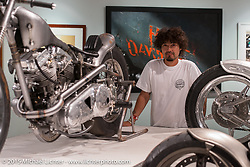 "Kaichiroh ""Kross"" Kurosu of Cherry's Company, Tokyo, Japan in Michael Lichter's Motorcycles as Art annual exhibition titled ""The Naked Truth"" at the Buffalo Chip Gallery during the 75th Annual Sturgis Black Hills Motorcycle Rally.  SD, USA.  August 4, 2015.  Photography ©2015 Michael Lichter."