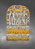 """Ancient Egyptian stele dedicated to Osiris by Neskhonsu,  Late Period, 25th Dynasty, (722-664 BC), Thebes, Cat 1596. Egyptian Museum, Turin. Grey background.<br /> <br /> The round topped stele dedicated by Osiris to Neskhonsu, daaughter of Nespernebu, """"gogs father"""" of Amon. Gifted by the Cairo Museum .<br /> <br /> If you prefer to buy from our ALAMY PHOTO LIBRARY  Collection visit : https://www.alamy.com/portfolio/paul-williams-funkystock/ancient-egyptian-art-artefacts.html  . Type -   Turin   - into the LOWER SEARCH WITHIN GALLERY box. Refine search by adding background colour, subject etc<br /> <br /> Visit our ANCIENT WORLD PHOTO COLLECTIONS for more photos to download or buy as wall art prints https://funkystock.photoshelter.com/gallery-collection/Ancient-World-Art-Antiquities-Historic-Sites-Pictures-Images-of/C00006u26yqSkDOM"""
