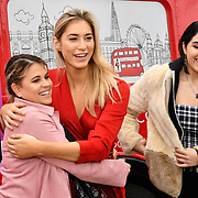 Nadia Essex, Lilly Douse and Claudia Sowaha attend Celeb Bri Tea, on board the BB Bakery bus on 22 March 2019, London, UK.