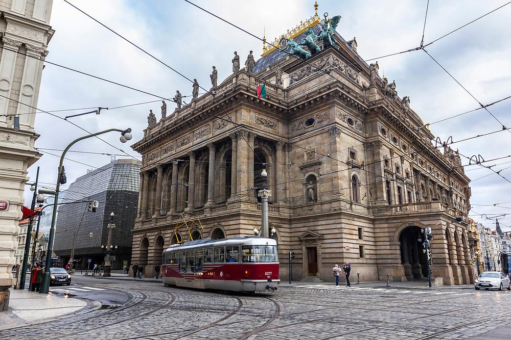 National Theatre (Czech: Národní divadlo) and the Magician's Lantern, Prague, Czech Republic.