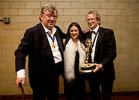 Robert Hughes (L), Mandy Chang, and Nicolas Kent, recipient of the Emmy for Arts Programming at the 2009 International Emmy Awards Gala hosted by the International Academy of Television Arts & Sciences in New York.  ***EXCLUSIVE***.