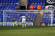 Tranmere Rovers' goalkeeper Owain Fon Williams saves a penalty from Notts County's Alan Sheehan. Skybet football league one match, Tranmere Rovers v Notts county at Prenton Park in Birkenhead, England on Saturday 15th March 2014.<br /> pic by Chris Stading, Andrew Orchard sports photography.