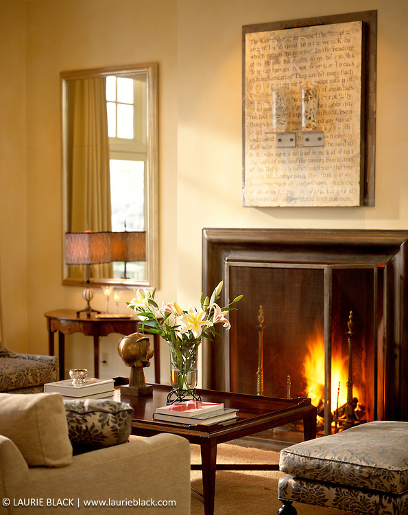 Inviting living room fireplace